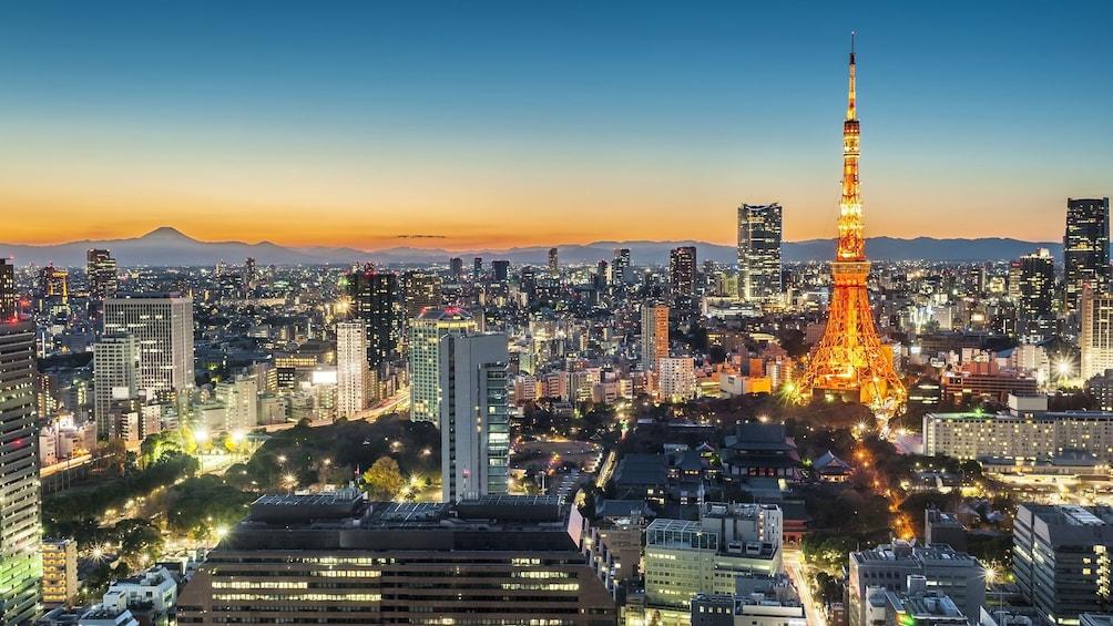 The Tokyo Tower illuminated at night in Japan