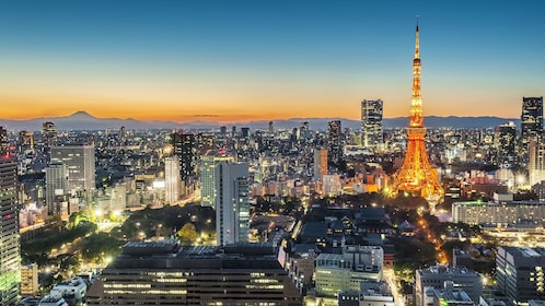 The Tokyo Tower illuminated at night in Japan