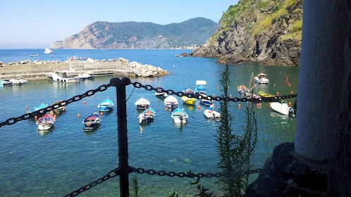 Boats anchored in the water in the Cinque Terre