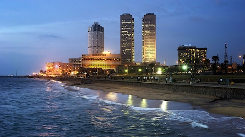 coast line view in Colombo at night
