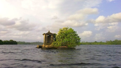 Small building on a tiny rock island in a river in Balapitiya