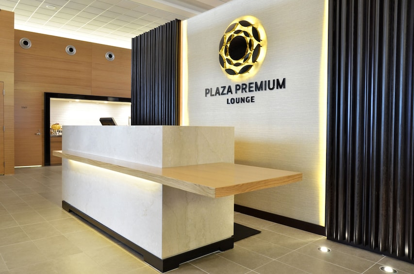 Check in desk for the Plaza Premium Lounge at Winnipeg International Airport