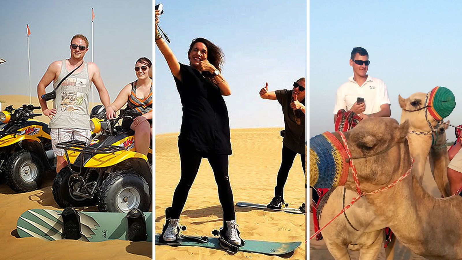 Desert Adventure Combo Tour: Quad-Bike, Sandboarding & Camel Safari
