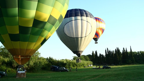 hot air balloons taking off from the ground in Tuscany