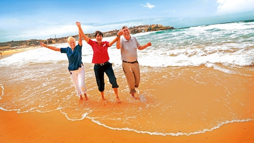 Group holding hands in the air as they enjoy the beach in Sydney