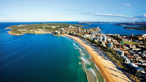 Aerial landscape view of Manly Beach in Australia