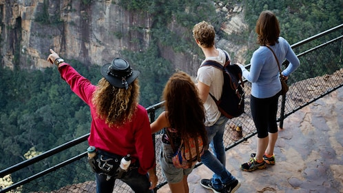 Group looking at the view at Blue Mountains National Park in Australia