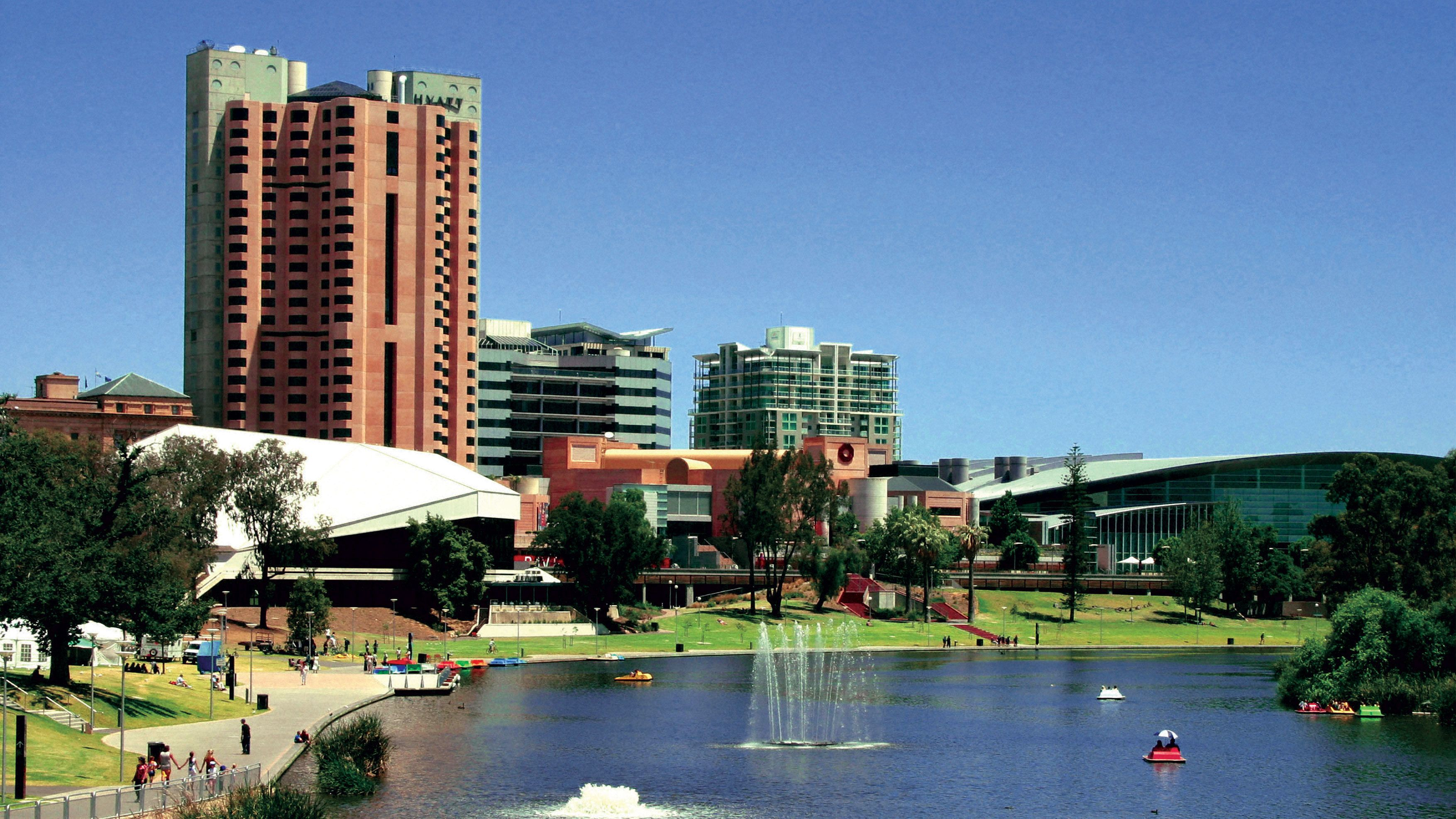 Lake and buildings in Adelaide