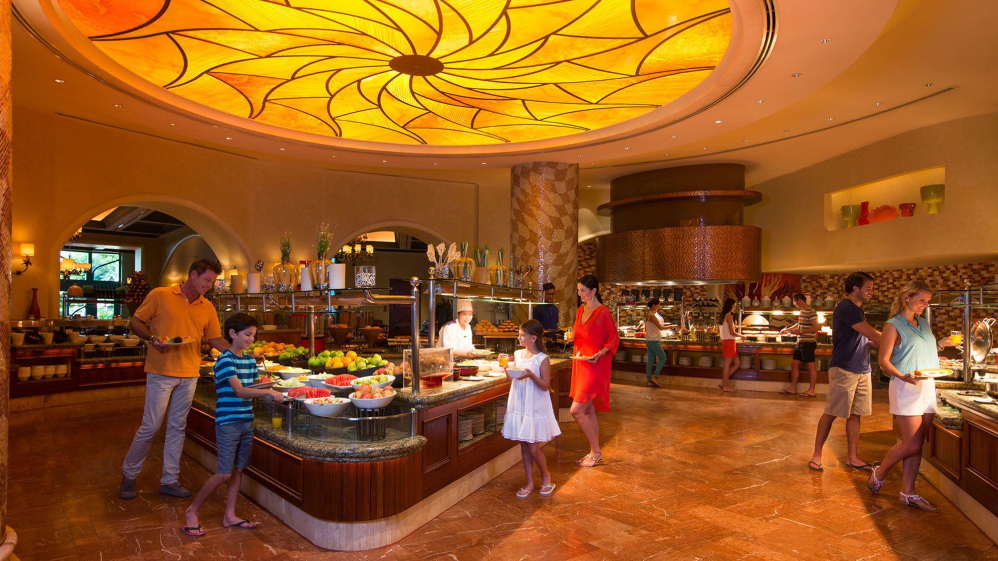 family going through buffet line at Atlantis in Abu Dhabi