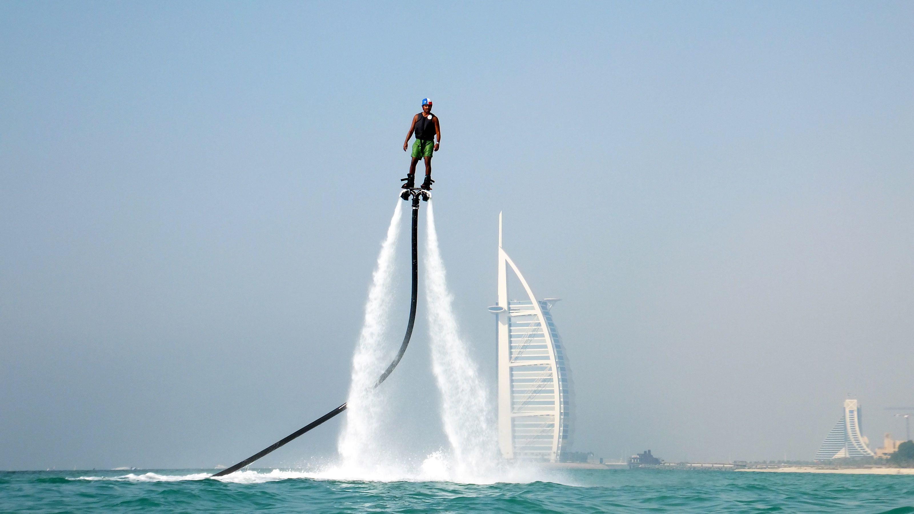 man fly boarding in Abu Dhabi