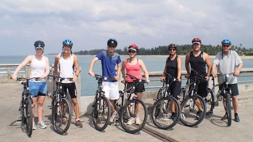 View of a group of bicyclists in Thailand