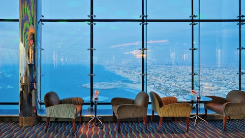 window seating for tea at Burj Al Arab hotel in Abu Dhabi