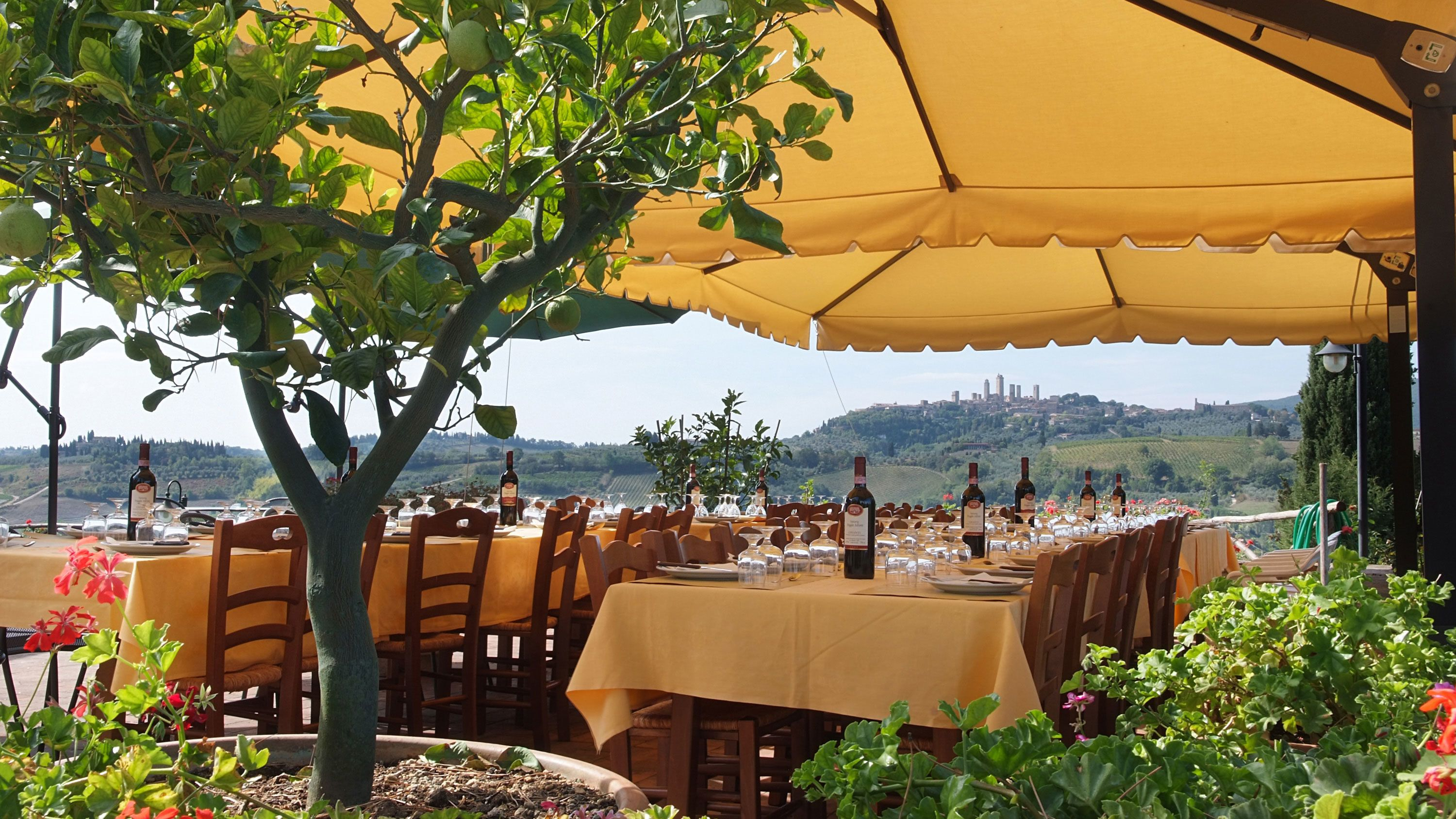 wine and dining tables set up outdoors in Italy