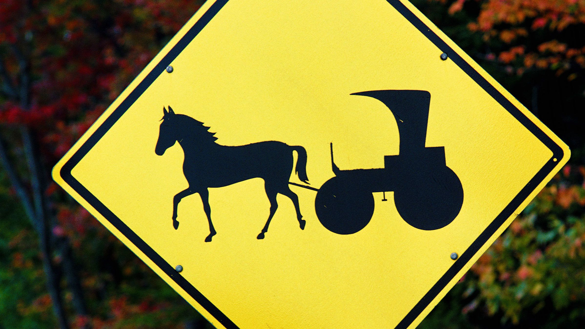 Horse and buggy street sign in Amish Country in Pennsylvania