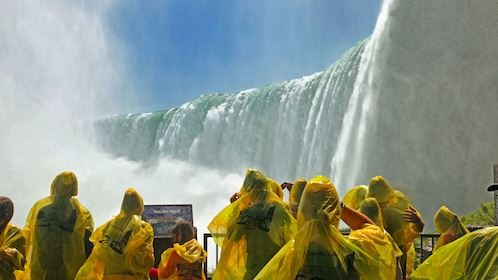 Tour group at Niagara Falls observation deck in New York