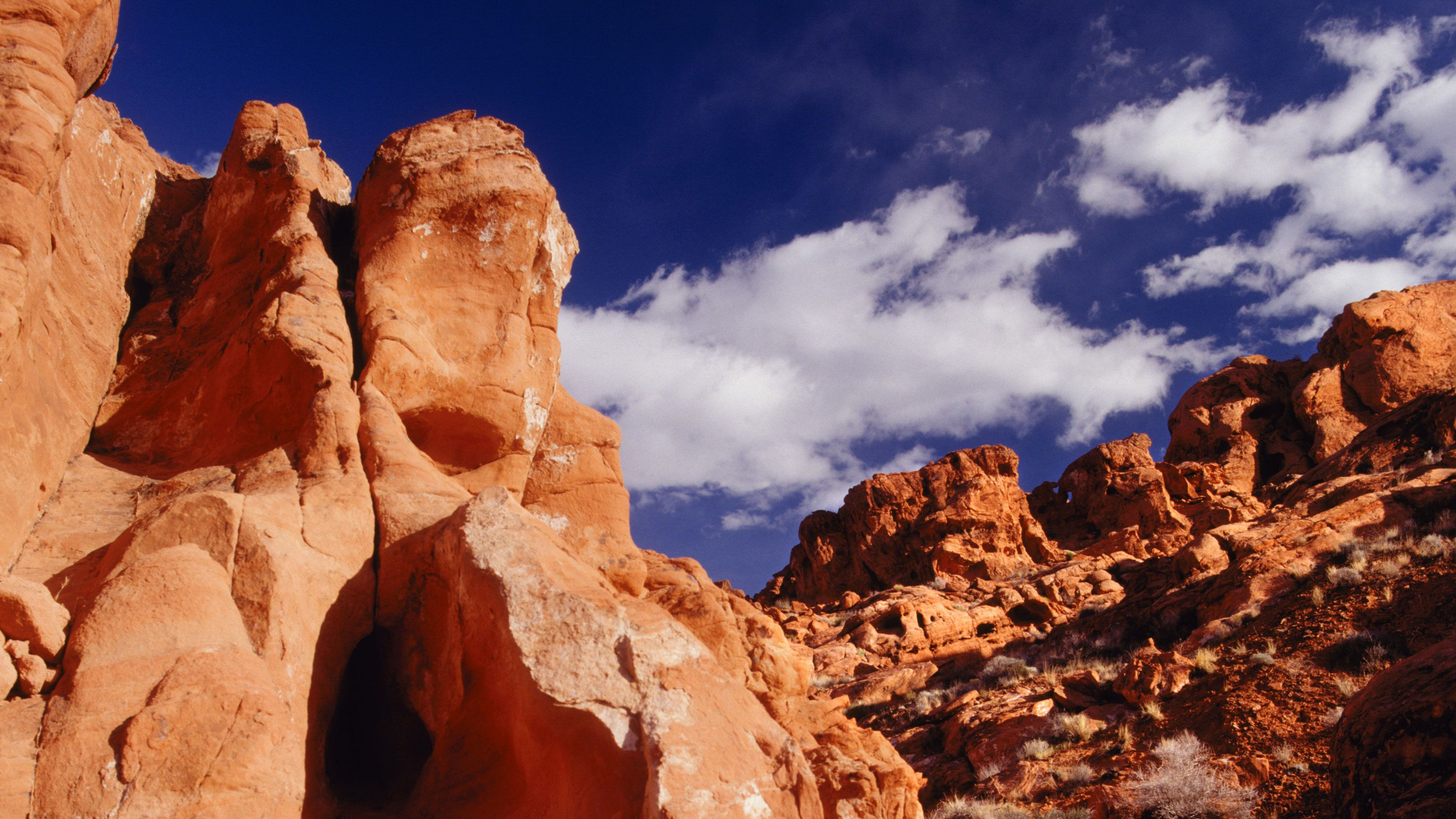 Rock formations in a Nevada desert.