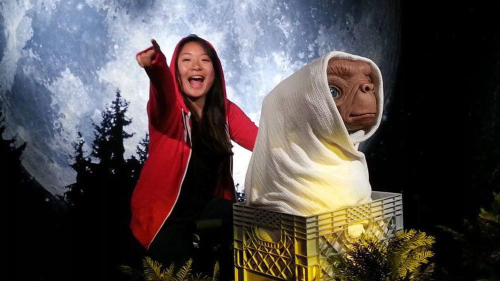 Girl on bicycle with ET at Madame Tussauds in San Francisco