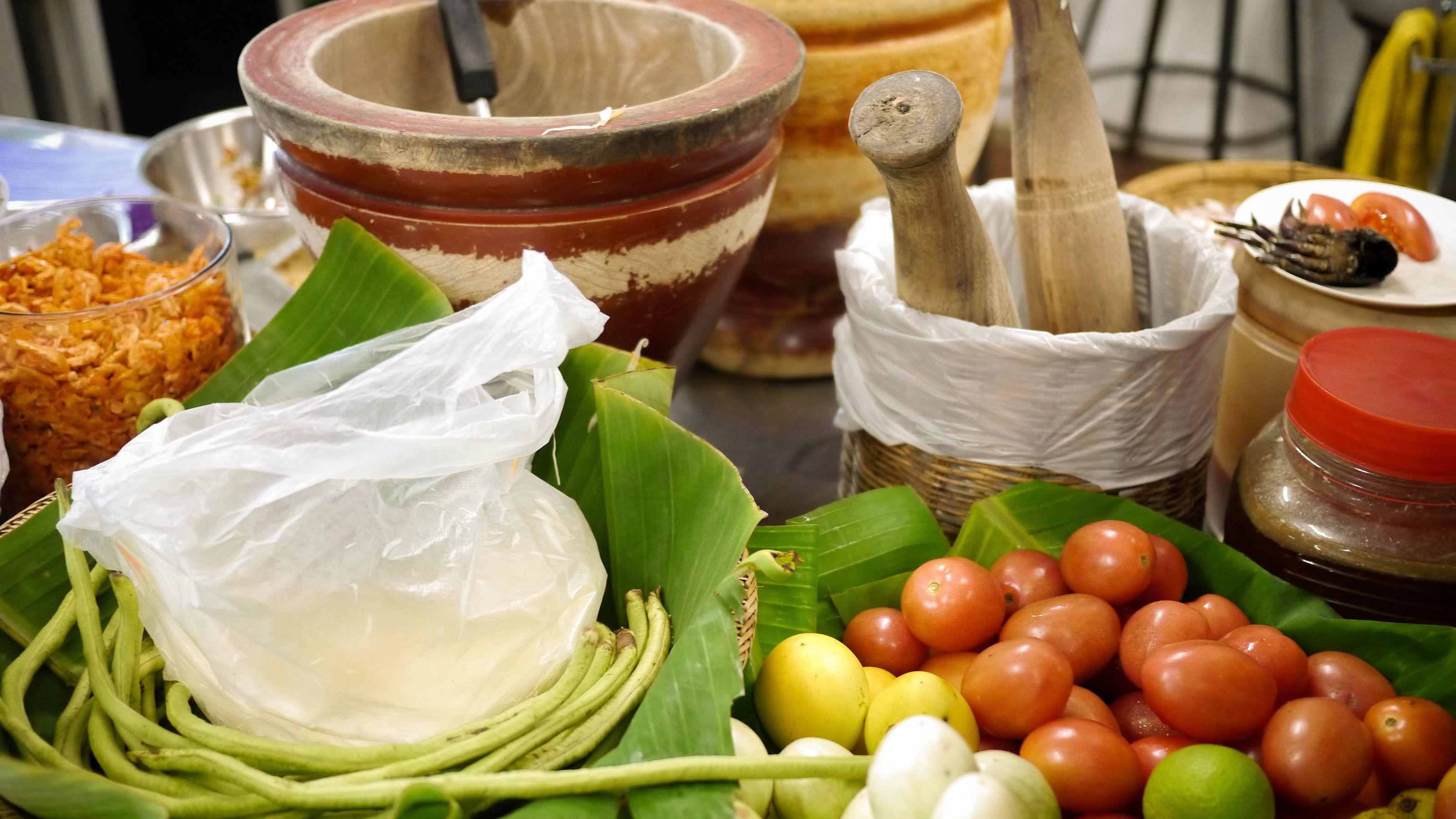 Cooking ingredients at the market in Bangkok