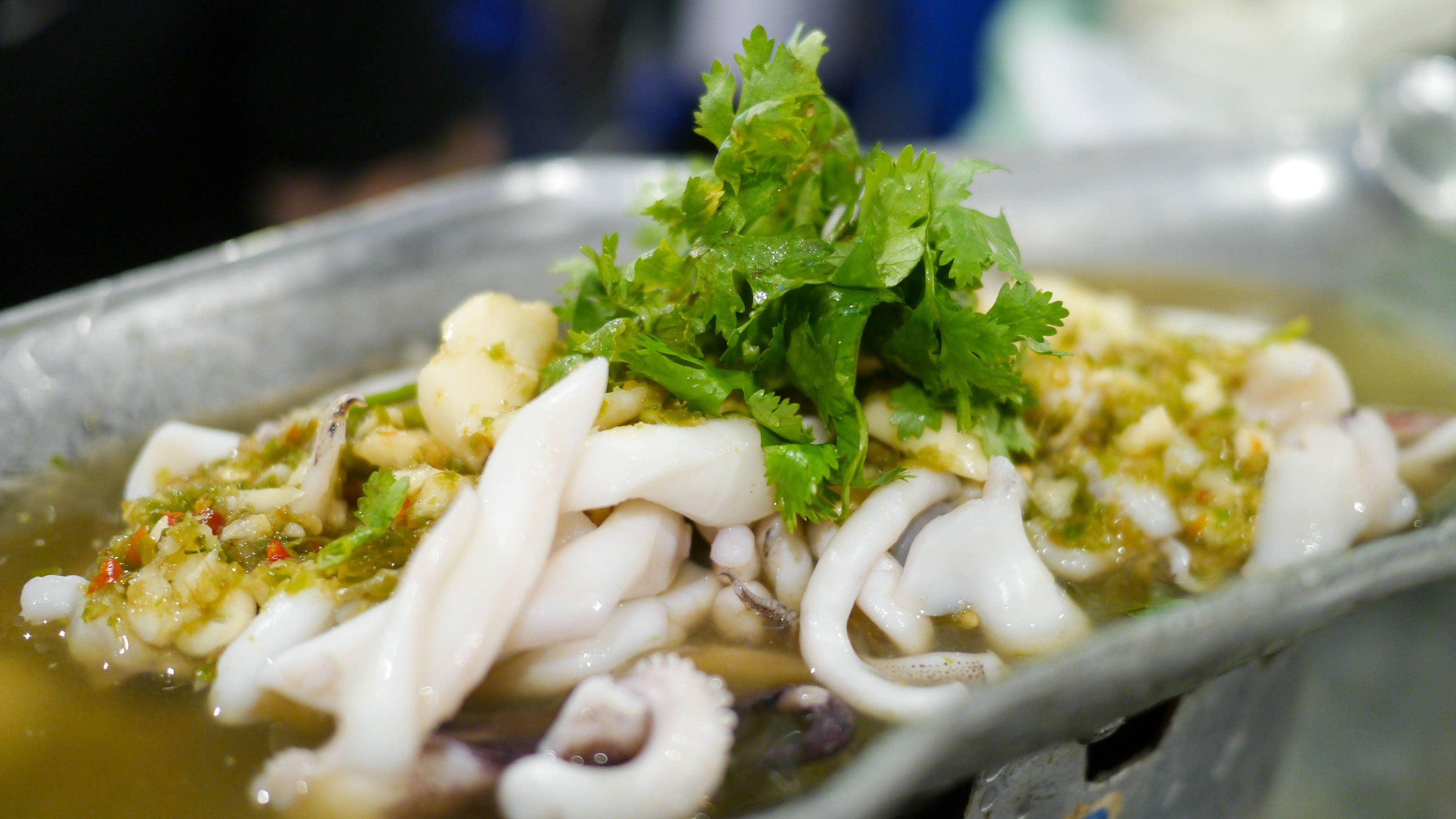 Seafood dish at the night market in Bangkok