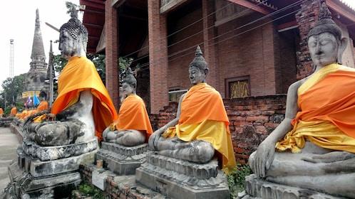 Clothed sculptures at Ayutthaya in Bangkok