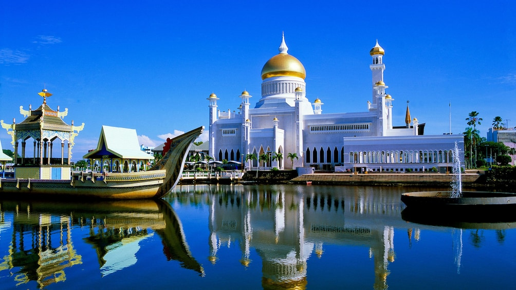Show item 1 of 5. Day view of the Istana Nurul Iman with clear blue skies