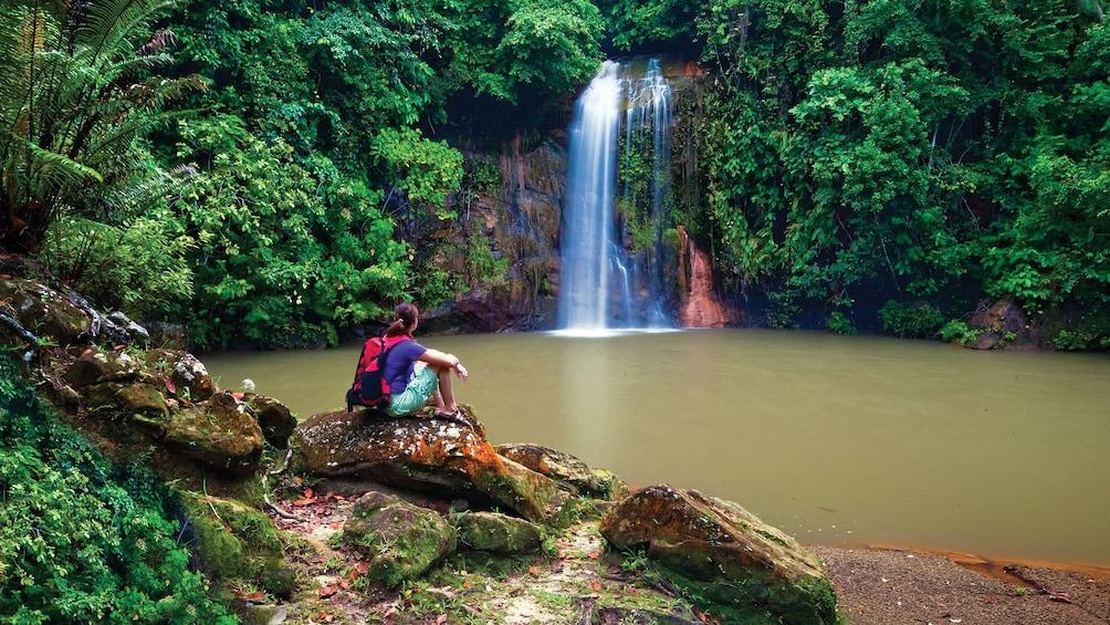 Show item 1 of 5. Woman admiring waterfall in Brunei