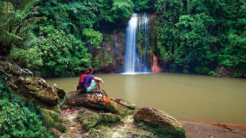 Woman admiring waterfall in Brunei