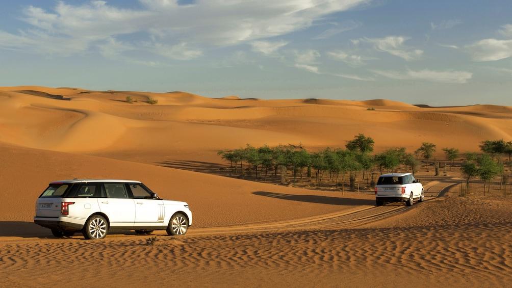 range rover in desert scene