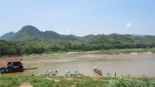 View of the Mekong river and mountains near Laung Prabang