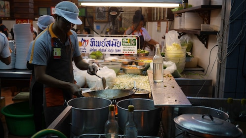 Night market street food cook in Bangkok