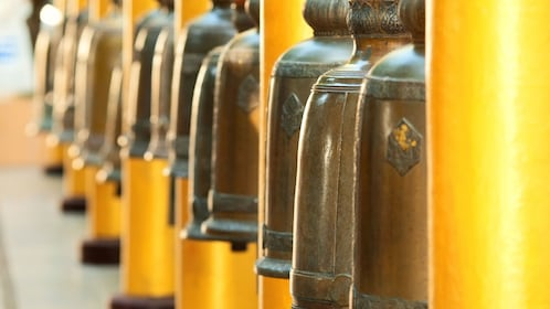 View of bells at temple in Bangkok