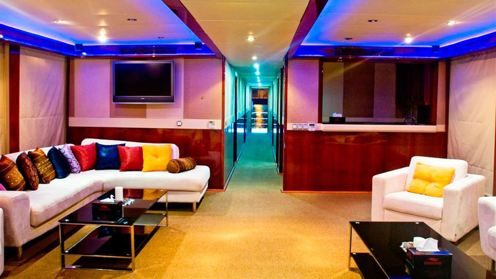 Lounge inside a house boat in Dubai