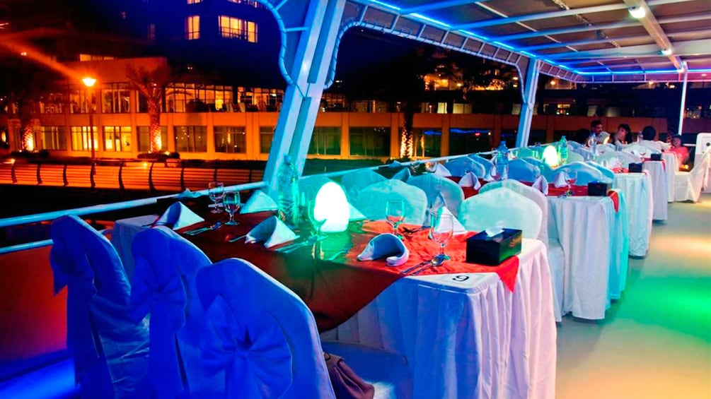 Tables onboard a house boat in Dubai