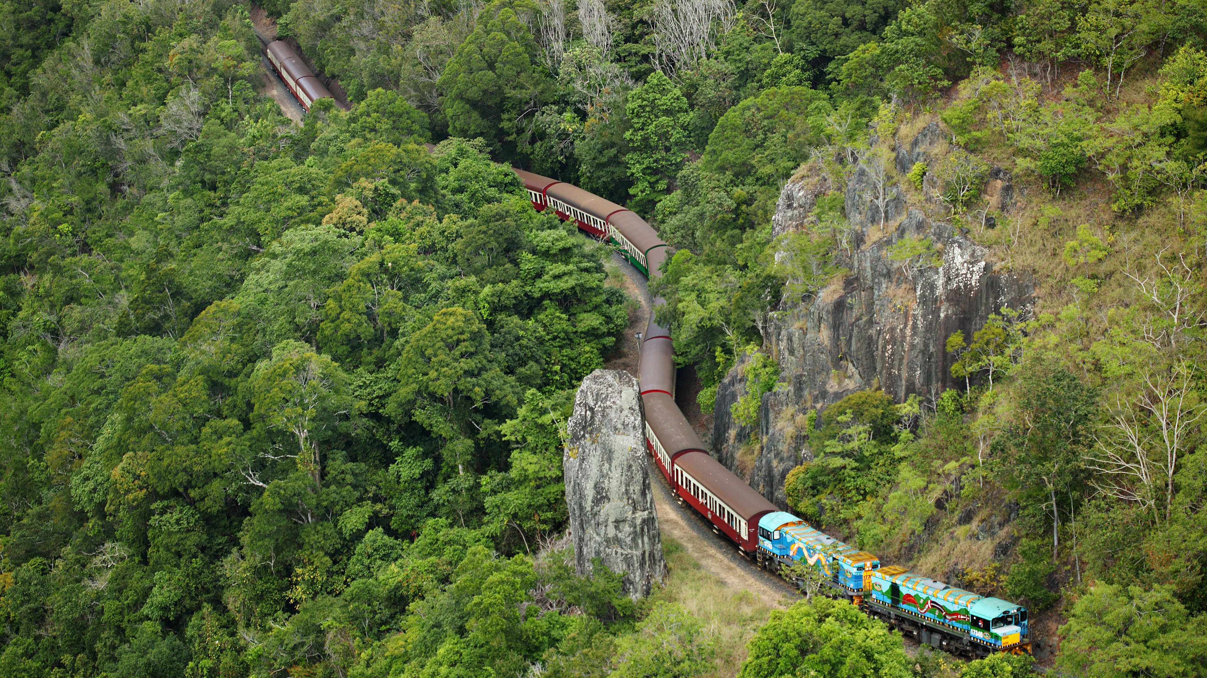 Aerial view of the Kuranda Scenic Railway in Kuranda