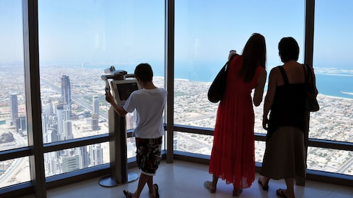 Family on the observation deck of the Burj Khalifa in Dubai