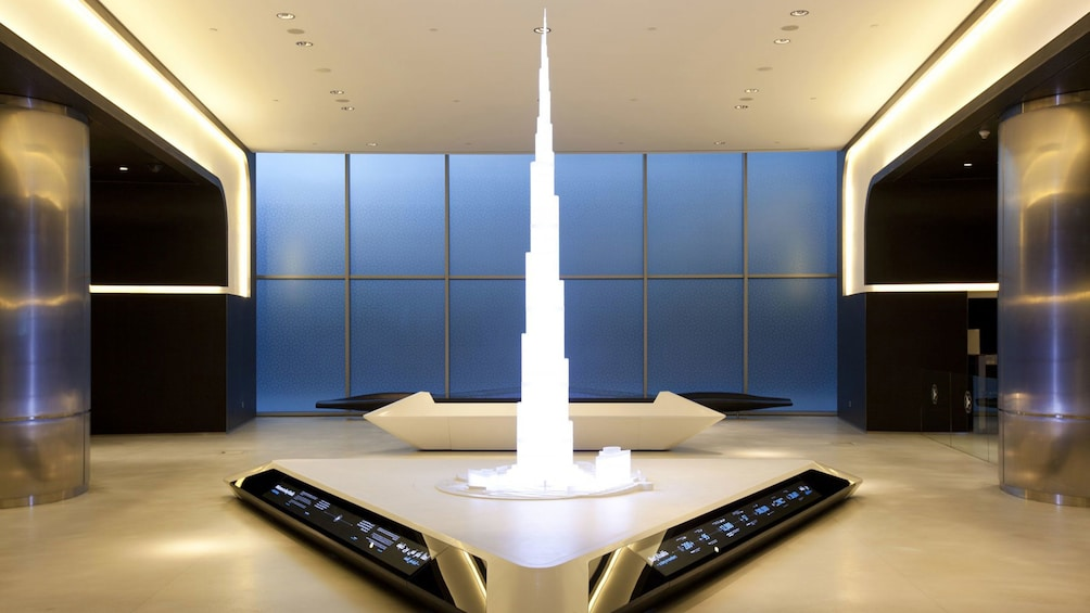 Futuristic room with a miniature of the Burj Khalifa in Dubai