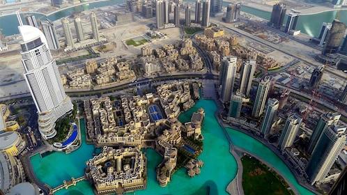 Looking down at Dubai from the Burj Khalifa