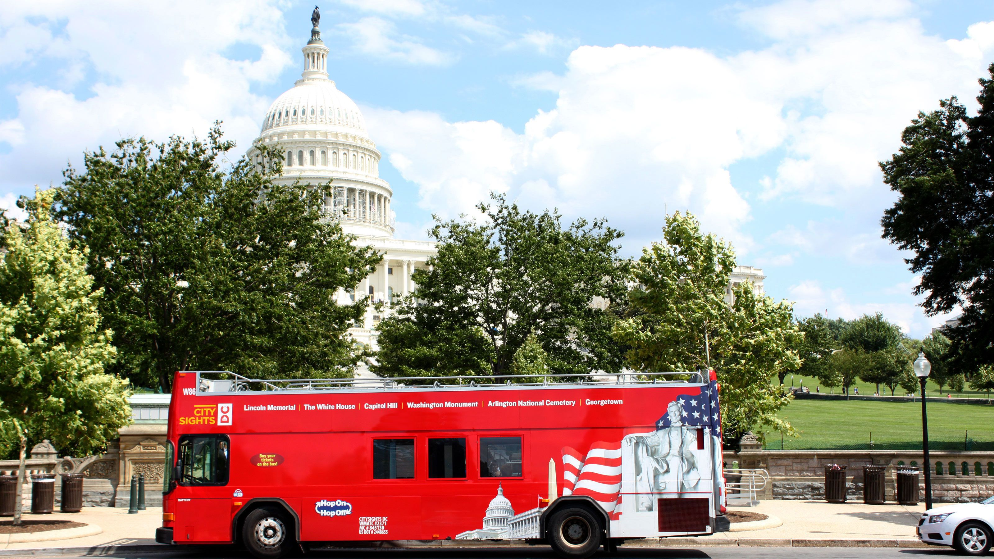 Hop-On Hop-Off bus parked in front of the Capitol Building in Washington DC