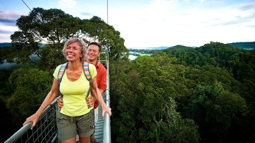 Couple enjoying the beautiful view of Ulu Temburong National Park on a suspension bridge