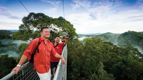 Group of tourists enjoying a beautiful view of Ulu Temburong National Park as they walk on a suspension bridge