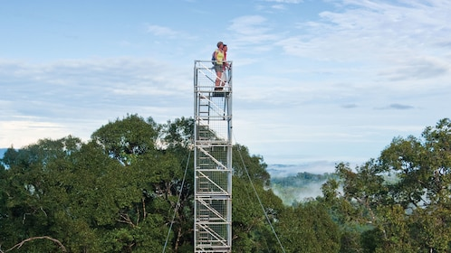 Couple enjoying a scenic view of Bangar from a viewing tower