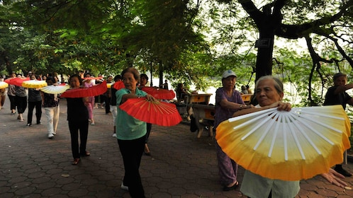 Elderly performing fan dance in Hanoi