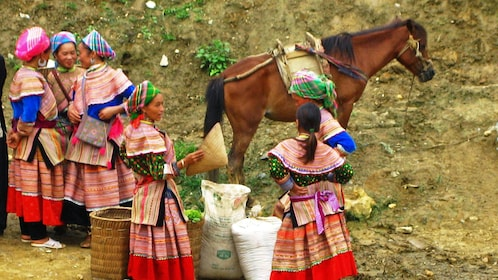 field workers in traditional outfits in Hanoi