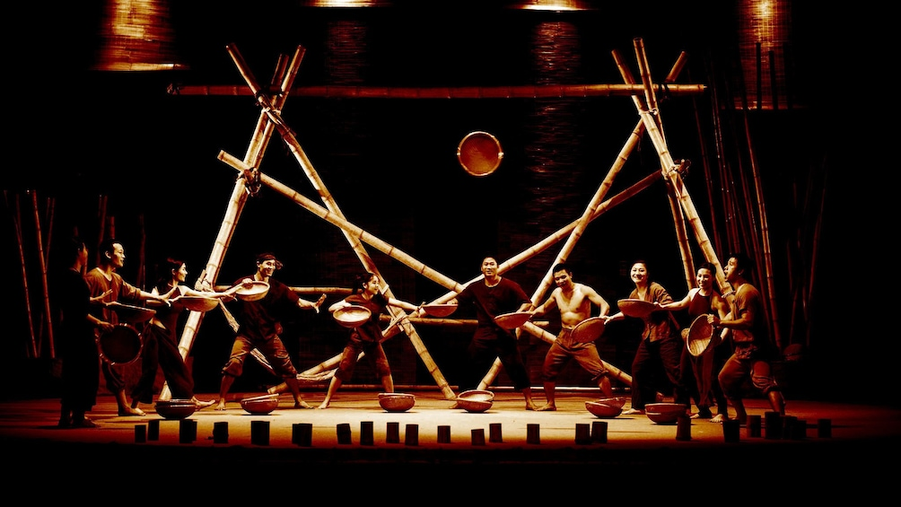 Show item 3 of 9. Stunning view of the stage of performers during the  A O Show Saigon in Ho Chi Minh City