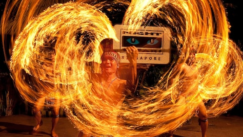Fire dancer at the night safari in singapore