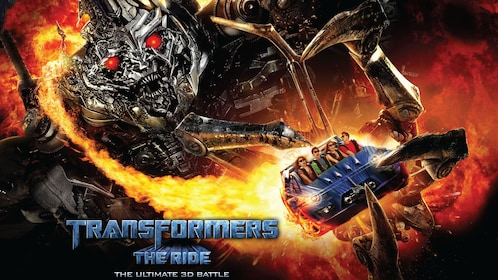 Poster for the Transformers the ride at Universal Studios in Singapore
