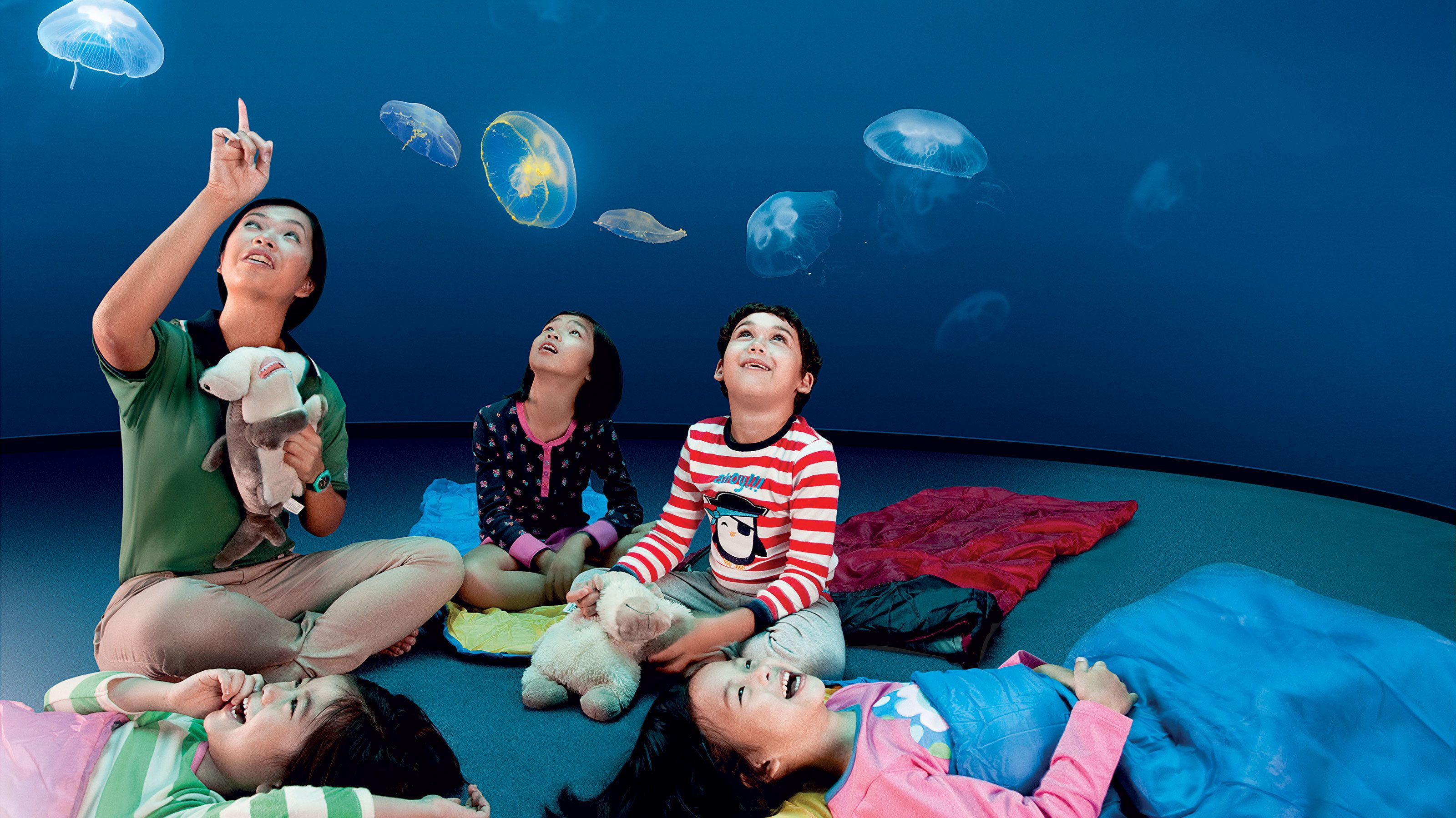 Kids with adult looking at jelly fish at the SEA Aquarium in Singapore