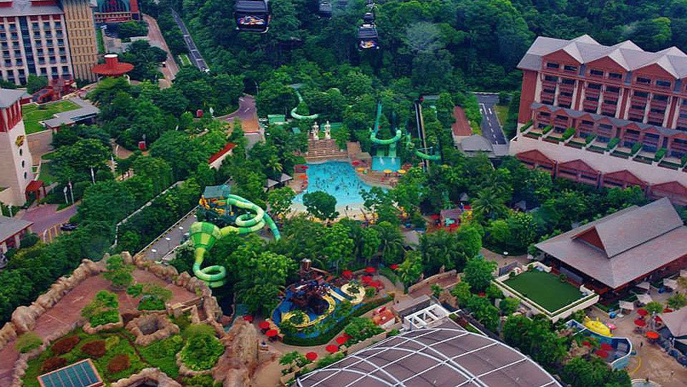 aerial of water park on sentosa island in singapore