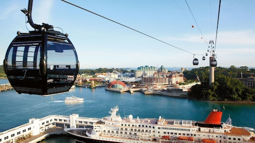 close up of cable car over sentosa island in singapore