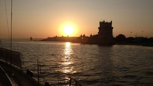 sunset from the coast in Lisbon